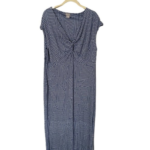 Chicos blue patterned and twist Front maxi dress